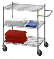 Adjustable Utility Cart w/3 Wire Shelves